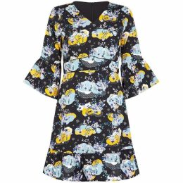 Yumi Cloud Print Tea Dress