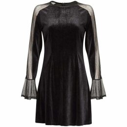 Yumi Mesh And Velvet Tunic Dress