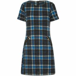Yumi Zip Pocket Check Tunic Dress