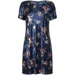 Yumi Curves Velvet Flower Print Tunic Dress