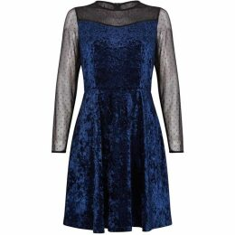 Yumi Mesh And Velvet Skater Dress