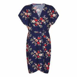 Mela London Curve Clustered Floral Print Wrap Dress