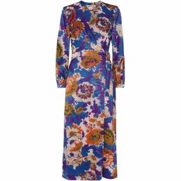 Whistles Autumn Bloom Devore Wrap Dress