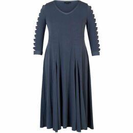 Chesca Lattice Sleeve Detail Flared Jersey Dress