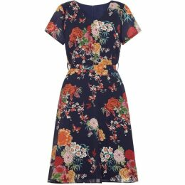 Yumi Floral Print Tie Waist Wrap Dress