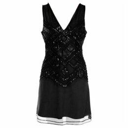 Dex Clothing V Neck Sleeveless Beaded Dress