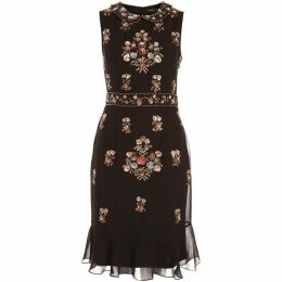 Dex Clothing Sleeveless Claudine Collar Beaded Dress