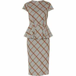 Gina Bacconi Danita Check Peplum Dress