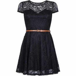 Mela London Curve Floral Lace Skater Dress With Belt