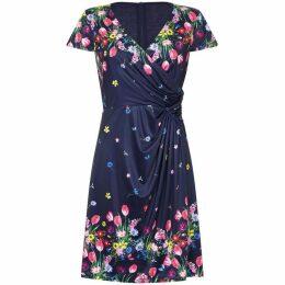 Yumi Bouquet Floral Print V-Neck Wrap Dress