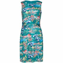 Yumi Curves Tropical Print Plus Size Slinky Jersey Dress