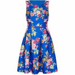Yumi Floral Print Piping Detail Jacquard Dress