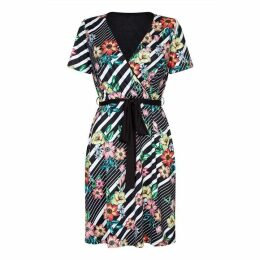 Yumi Floral Stripe Print Knee Length Wrap Dress
