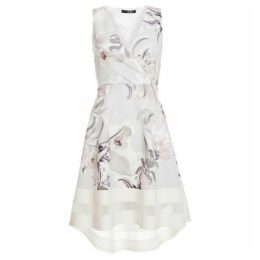 Quiz Grey And Pink Floral Wrap Dip Hem Dress