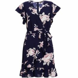 Quiz Navy And Pink Floral Wrap Dress