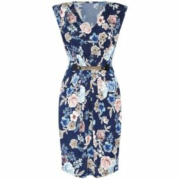 Mela Floral Printed Bodycon Dress With Belt