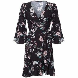 Mela Floral Print Knee Length Wrap Dress