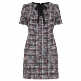 Warehouse Tweed Tie Neck Dress