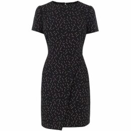 Warehouse Dash Print Wrap Shift Dress