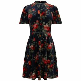 Oasis Rose Velvet Angel Sleeve Dress
