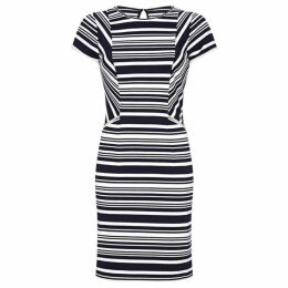 Yumi Stripe Bodycon Dress With Zip Pocket Det