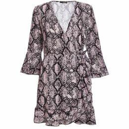 Quiz Pink And Black Snake Print Wrap Dress