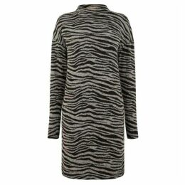 Oasis Tiger Funnel Neck Cosy Dress - Long