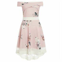 Quiz Pink Floral Wrap Dip Hem Dress