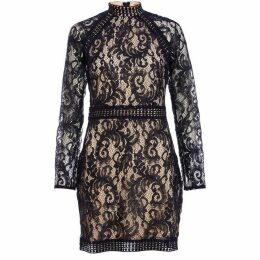 Quiz Navy And Nude Lace Mini Dress
