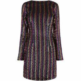 Warehouse Stripe Sequin Bodycon Dress