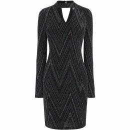 Oasis Zag Glitterball Long Sleeve Dress