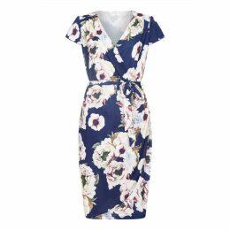 Yumi Curves Floral Printed Plus Size Wrap Dress