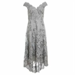 Quiz Grey Embroidered Bardot Dip Hem Dress