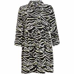 Quiz Black White And Lime Zebra Print Shirt Dress