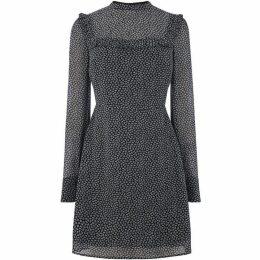 Oasis Mini Leaf Long Sleeve Bib Dress