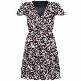 Mela Floral Fluted Sleeve Wrap Dress
