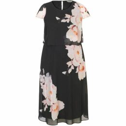 Chesca Floral Print Double Layer Chiffon Dress