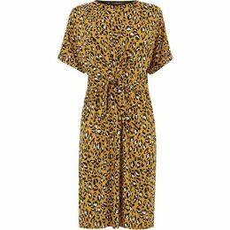 Warehouse Leopard Print Tie Front Dress