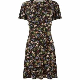 Oasis Crushed Ditsy Tie Front Dress