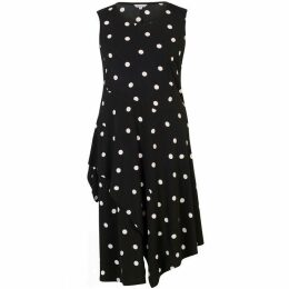 Chesca Spot Print Jersey Dress With Flounce Trim