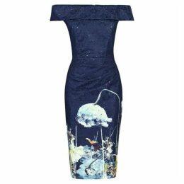 Jolie Moi Bardot Sequin Lace Dress