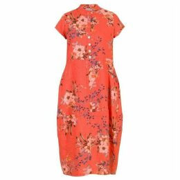 Chesca Japanese Floral Linen Dress With Stand Collar