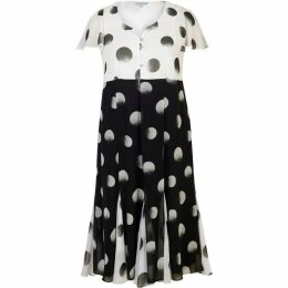 Chesca Spot Print Chiffon Dress With Contrast Bodice