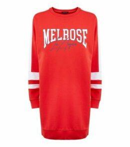 Red Melrose Slogan Longline Sweatshirt New Look