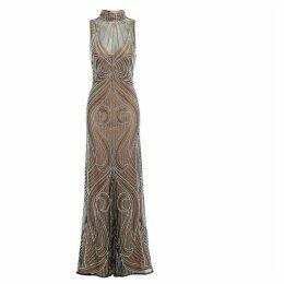 Jolie Moi Olivia Embellished Mocha Evening Maxi Dress