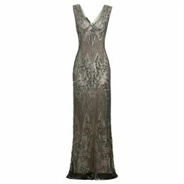 Jolie Moi Angie Dusty Grey Embellished Evening Maxi Dress