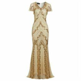 Jolie Moi Helen Off-White Evening Maxi Dress