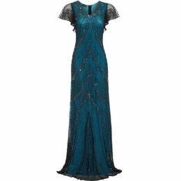Jolie Moi Evelyn Embellished Blue Evening Maxi Dress