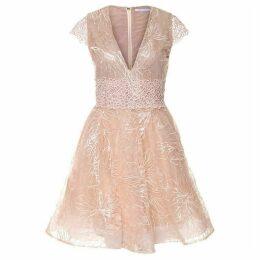 Dex Clothing Cap Slv Lace Deep V-Neck Tull Dress