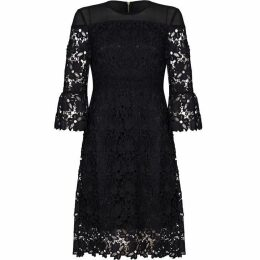Yumi Lace Panel Dress With Bell Sleeves